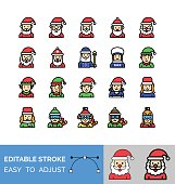 xmas, related Santa clauses, elf, boys, in elf dress, girls, in elf dress, Santa wizard, Santa characters, and mrs clause avatars, characters, vectors with editable strokes,