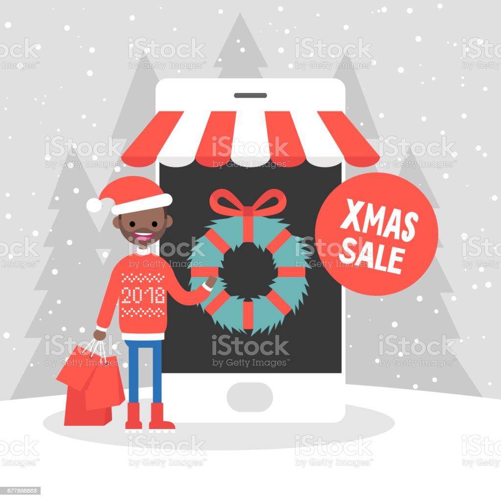 Carácter milenario comprando regalos de Navidad en línea. Tienda online de 7ce75bfdb0c