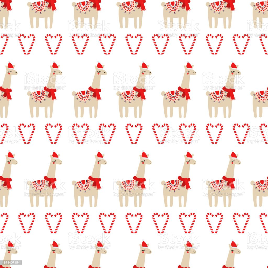Xmas seamless pattern with cute lama with xmas hat and candy cane hearts on white background. vector art illustration
