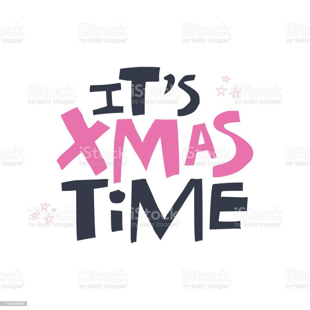Ilustración de Navidad Tiempo Dibujado A Mano Letras