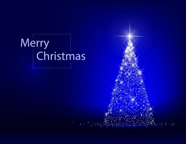 xmas tree blue Christmas tree decoration bright lights light through trees stock illustrations