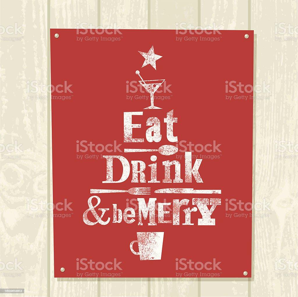 Xmas tree eat drink be merry illustration vector design vector art illustration