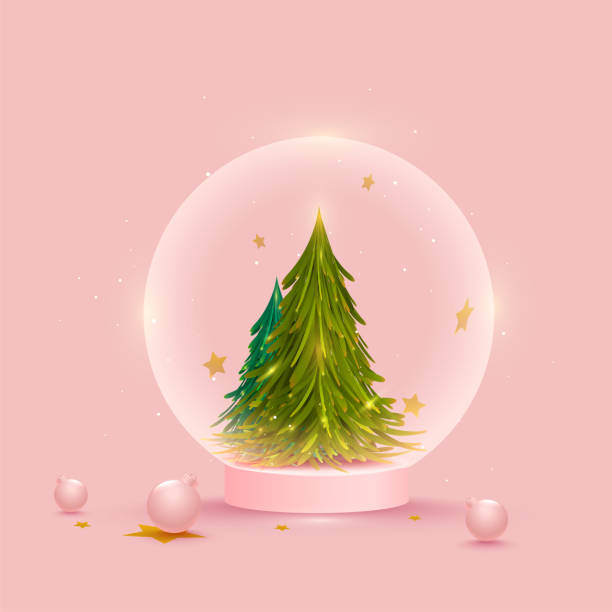Xmas Tree Inside Globe With 3D Baubles On Pink Background. vector art illustration