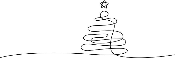 xmas tree line art
