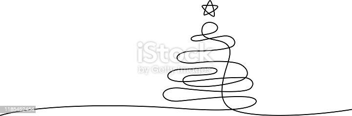 istock xmas tree line art 1185452454
