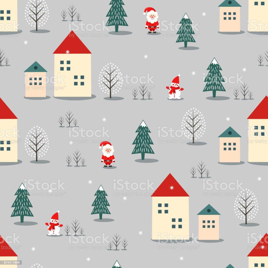 Ilustración de Navidad árbol Santa Claus Muñeco De Nieve Y Casas De ...