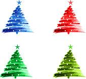 Christmas trees design element icon paint brush