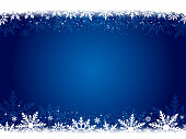 Xmas vector background in dark blue color with white snowflakes at top and bottom.. Snowflake watermark. A frill border at the top and bottom of white snowflakes. Slightly dark shadow at the sides. Twinkling stars in white at a few places. Overlapping snowflakes. Floral look. Light and bright in the center, centre, middle.  Can be used as Xmas , New Year background, wallpaper, gift wrapping sheet. No People, No text, copy space. Horizontal
