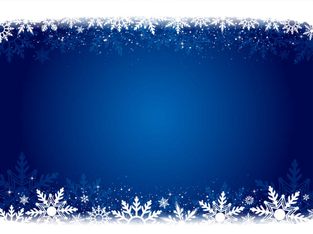 Xmas vector background in dark blue color with white snowflakes at top and bottom. Xmas vector background in dark blue color with white snowflakes at top and bottom.. Snowflake watermark. A frill border at the top and bottom of white snowflakes. Slightly dark shadow at the sides. Twinkling stars in white at a few places. Overlapping snowflakes. Floral look. Light and bright in the center, centre, middle.  Can be used as Xmas , New Year background, wallpaper, gift wrapping sheet. No People, No text, copy space. Horizontal dark blue stock illustrations