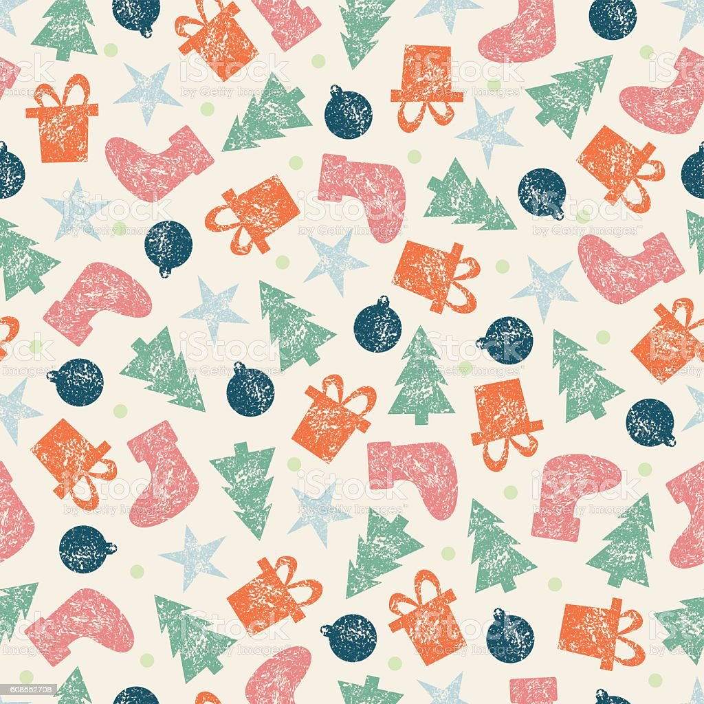xmas vintage christmas seamless pattern for christmas wrapping paper royalty free xmas vintage christmas seamless - Vintage Christmas Wrapping Paper