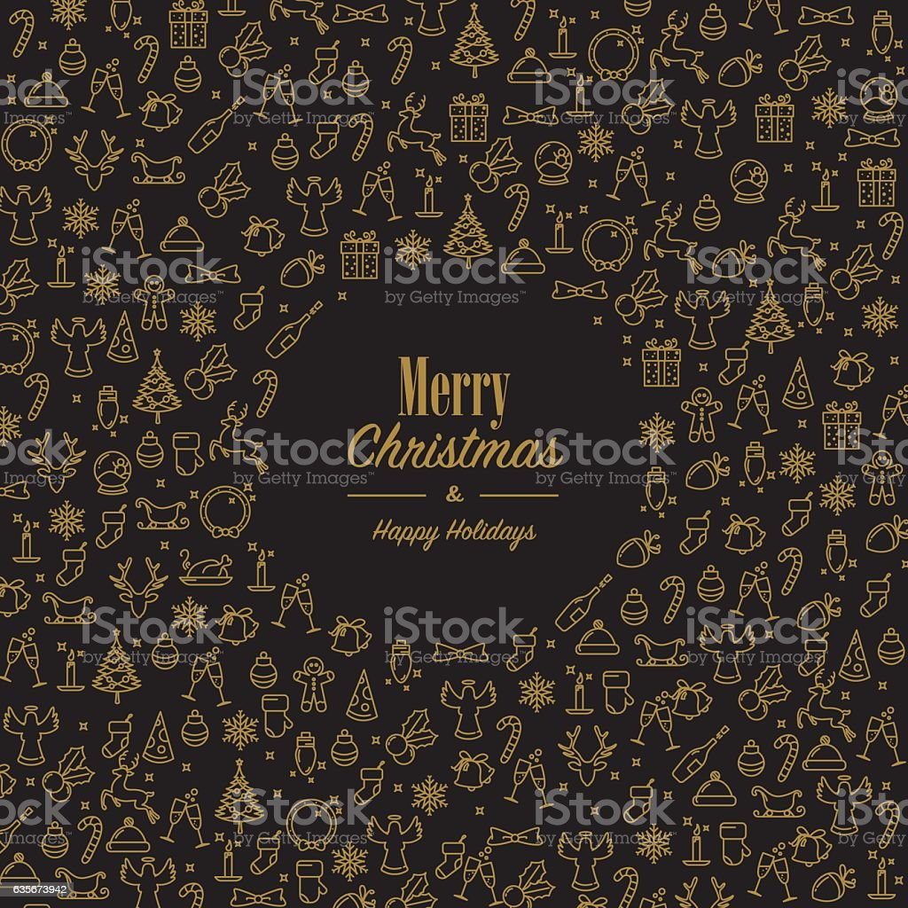 Xmas wishes with golden xmas icons vector art illustration