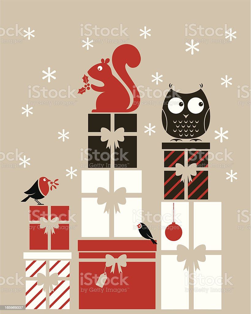 Xmas Woodland Gifts royalty-free stock vector art