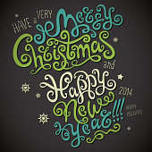 Merry Christmas and Happy New Year lettering Greeting Card. Vector illustration. 2014