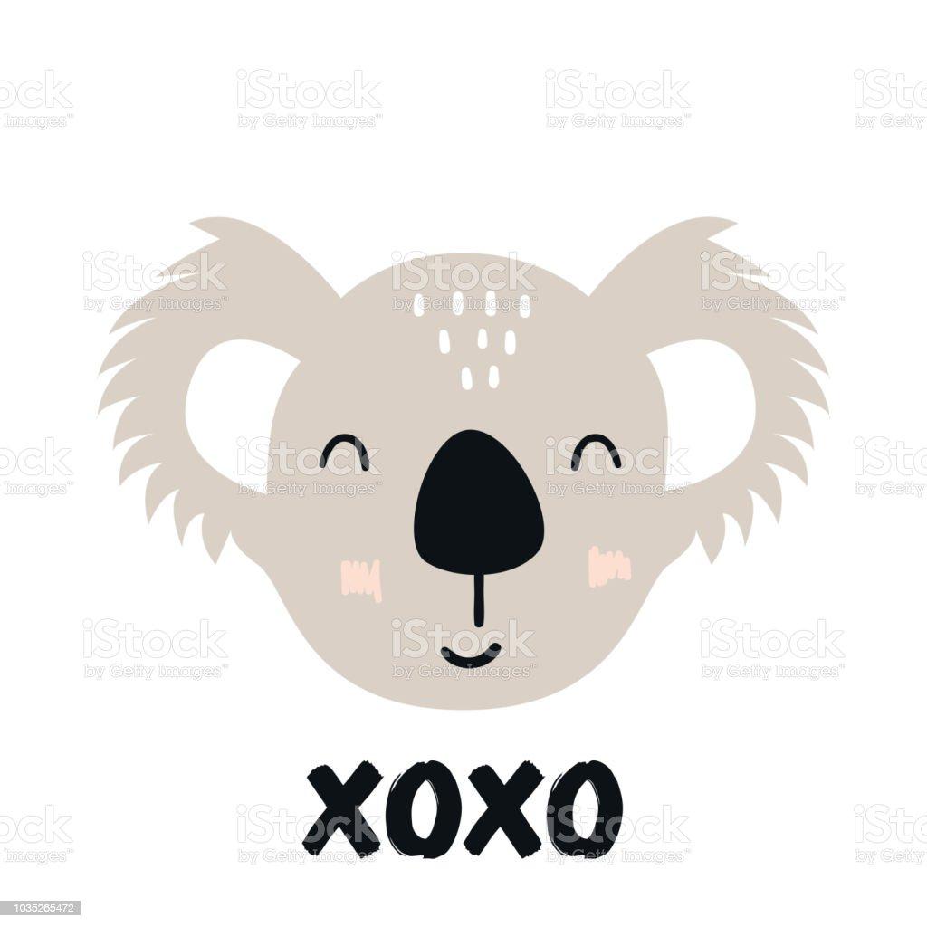 Xo Xo Süße Hand Gezeichnete Kindergarten Poster Mit Koala Tier