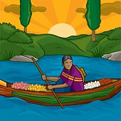 This vector illustration depicts a young mexican girl traveling through the Xochimilco water channels in Mexico city. She goes through the chinampas (rafts that were covered with soil by the aztecs centuries ago and eventually became rooted islands) selling her flowers to people who pass by on Trajineras (boats who carry tourists around). A nice place to visit!