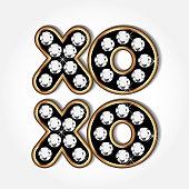 Xoxo gold and diamonds word logo
