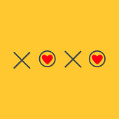 Xoxo Hugs and kisses Sign symbol mark Love card Red heart Word text lettering. Flat design Yellow background Isolated.
