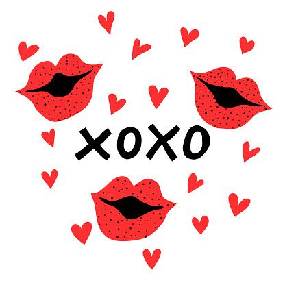 xoxo phrase, kiss sign, lips and hearts. Romantic hand drawn print design for valentine's day.