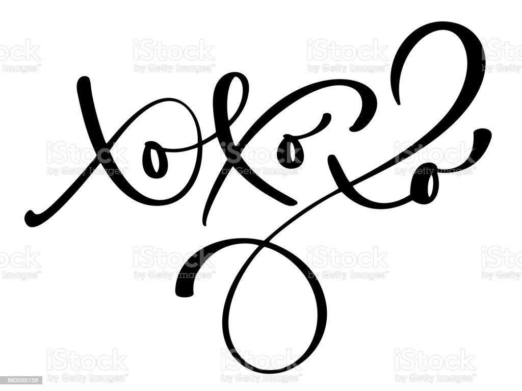 Xoxoxo Christmas Calligraphy Vector Greeting Card With ...