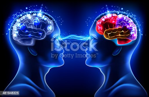 Two human in x-ray vision with brain. 10 EPS file with transparency effects and overlapping colors.