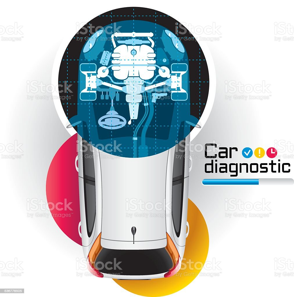X-ray Car Diagnostic vector art illustration