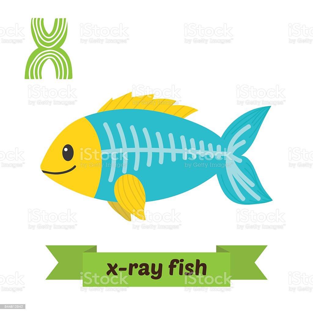 X-ray fish. X letter. Cute children animal alphabet in vector vector art illustration