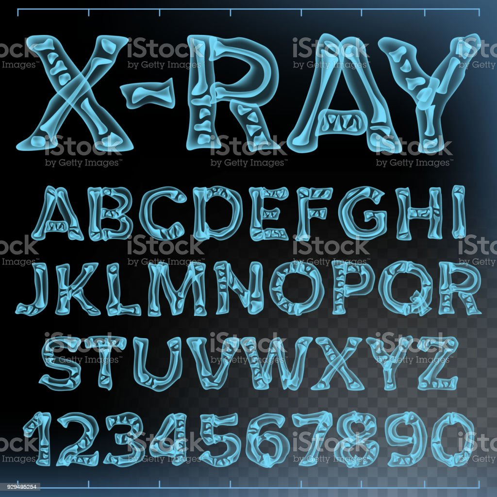 X-ray Font Vector. Transparent Roentgen Alphabet. Radiology 3D Scan. Abc. Blue Bone. Medical Typography. Capitals Letters And Numbers. Isolated Illustration vector art illustration