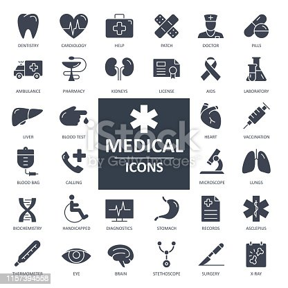 X-Ray Icon - Bold Solid Black Style Vector Illustration. Health and Medicine
