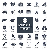 X-Ray Icon - Bold Solid Black Style Vector. Health and Medicine