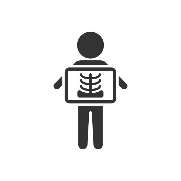 illustrations, cliparts, dessins animés et icônes de icône de rayon x dans le modèle plat. illustration de vecteur de radiologie sur le fond isolé blanc. concept d'affaires de balayage médical. - radio