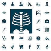 X-ray symbol. Roentgen icon, medical set on white background. Health Care Vector illustration