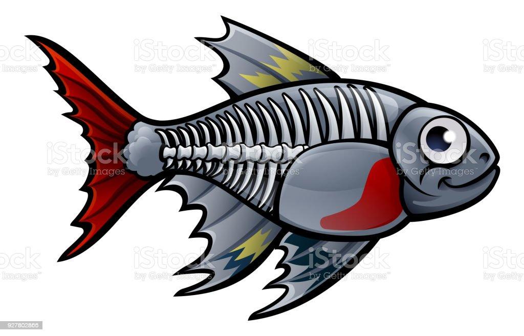 XRay Tetra Fish Cartoon Character vector art illustration