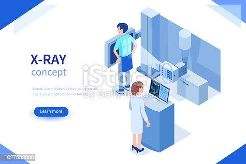 Doctor and patient use x-ray machine for diagnosis. Can use for web banner, infographics, hero images. Flat isometric vector illustration isolated on white background.