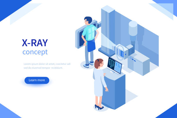 x-ray Doctor and patient use x-ray machine for diagnosis. Can use for web banner, infographics, hero images. Flat isometric vector illustration isolated on white background. medical x ray stock illustrations
