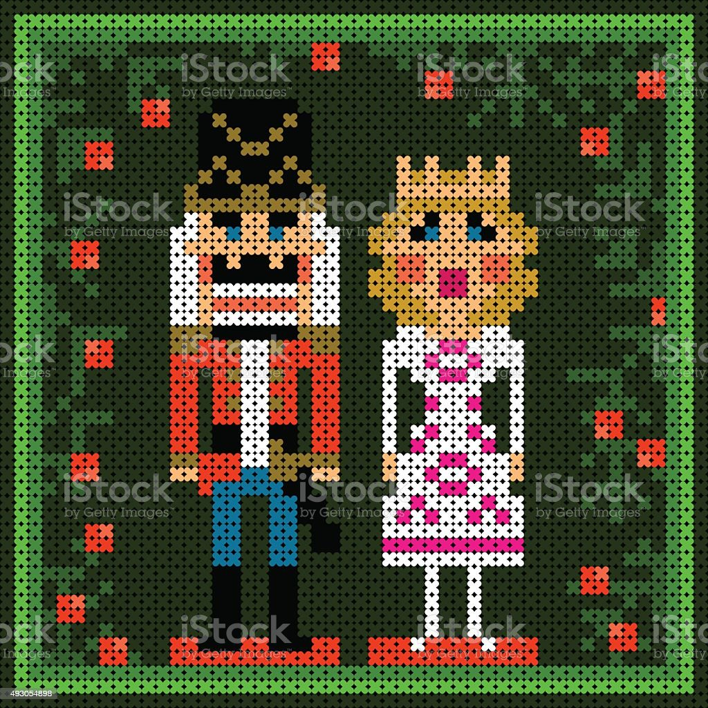 x-stitch christmas card with nutcracker and princess vector art illustration