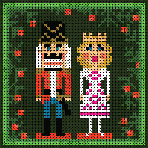 x-stitch christmas card with nutcracker and princess vector art illustration