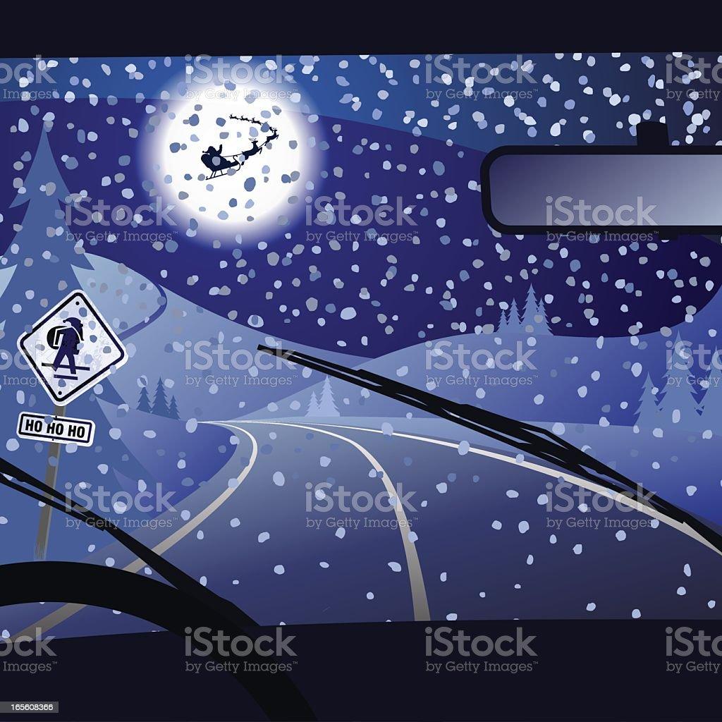 Xtmas road vector art illustration