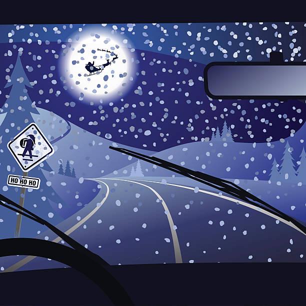 stockillustraties, clipart, cartoons en iconen met xtmas road - mist donker auto