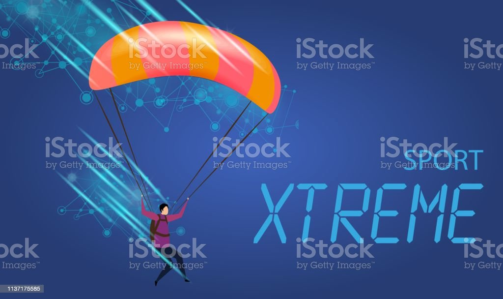 Xtreme Sport Banner. Young Man with Parachute in Sky. Extreme...