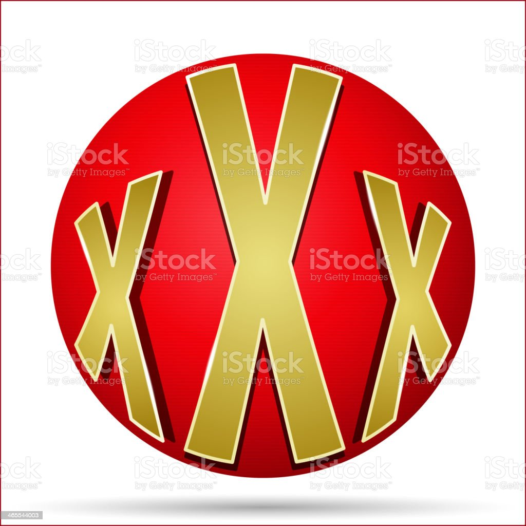 xxx icon in the form of a red ball royalty-free stock vector art