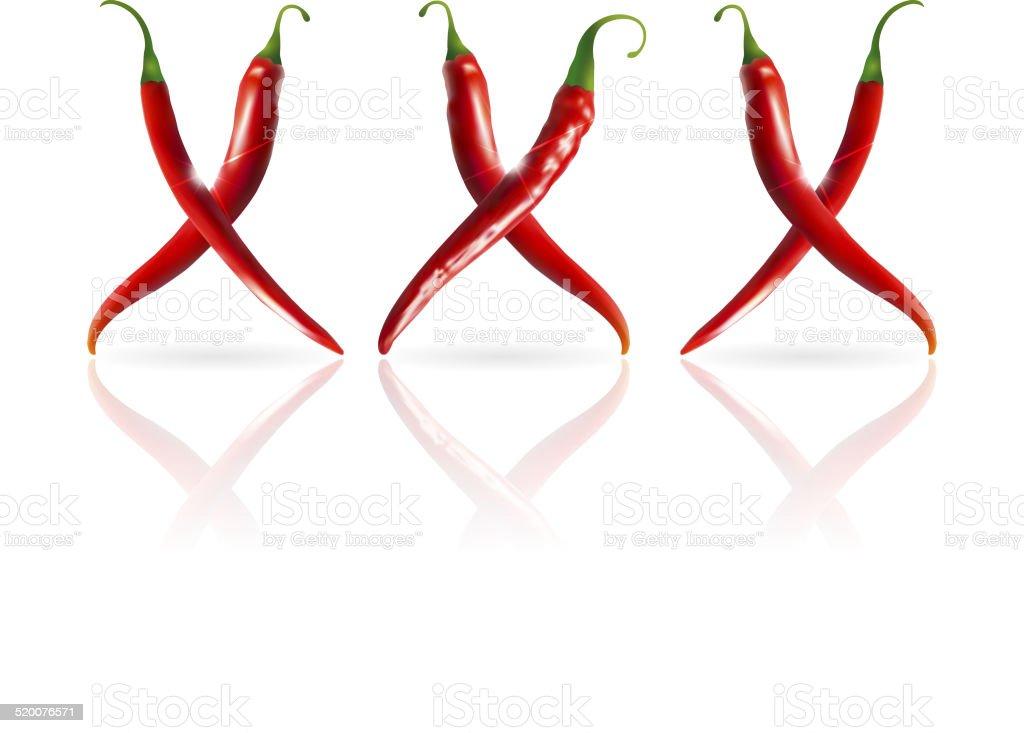 xxx symbol of pepper vector art illustration