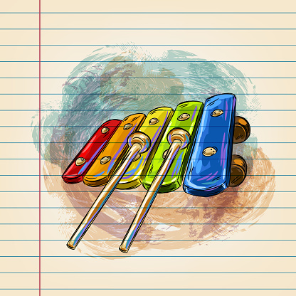 Xylophone Drawing on Ruled Paper