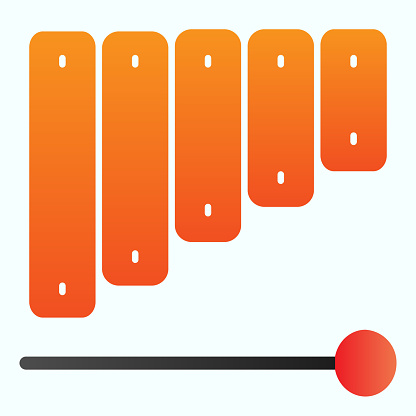 Xylophone flat icon. Percussion vector illustration isolated on white. Musical instrument gradient style design, designed for web and app. Eps 10.