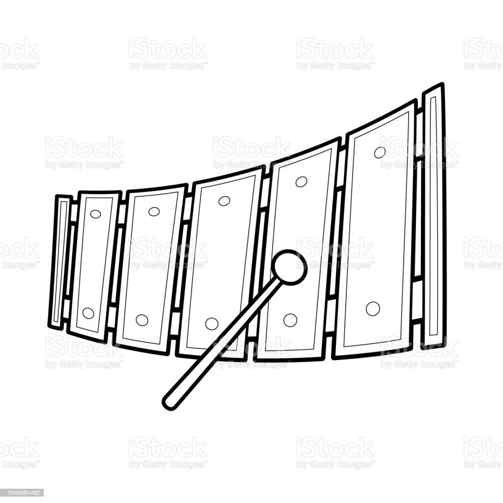 Juguete Animados Y Xilófono Dibujos Ilustración Vector Bw Música De QWrdCxoeB