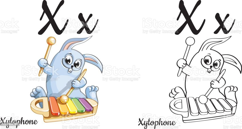 Xylophone Vector Alphabet Letter X Coloring Page Stock Vector Art