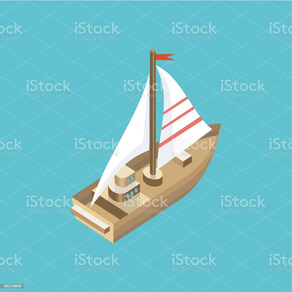 Yacht en mer isolé icône isométrique - Illustration vectorielle
