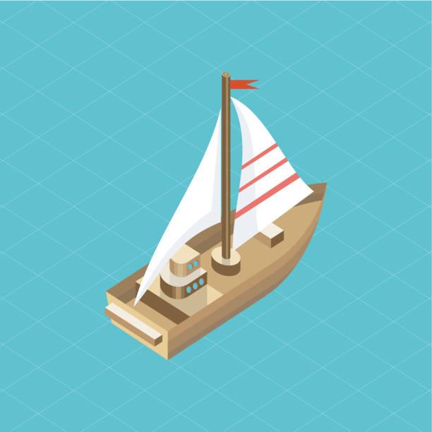 ilustrações de stock, clip art, desenhos animados e ícones de yacht at sea isolated icon isometric - algarve