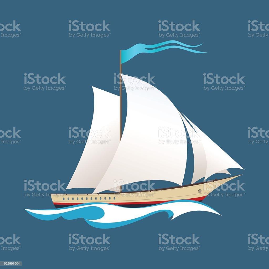 Yacht at Sea vector art illustration