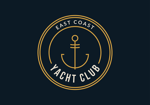 Yacht club badge or label. Nautical icon design with anchor. Vector illustration.