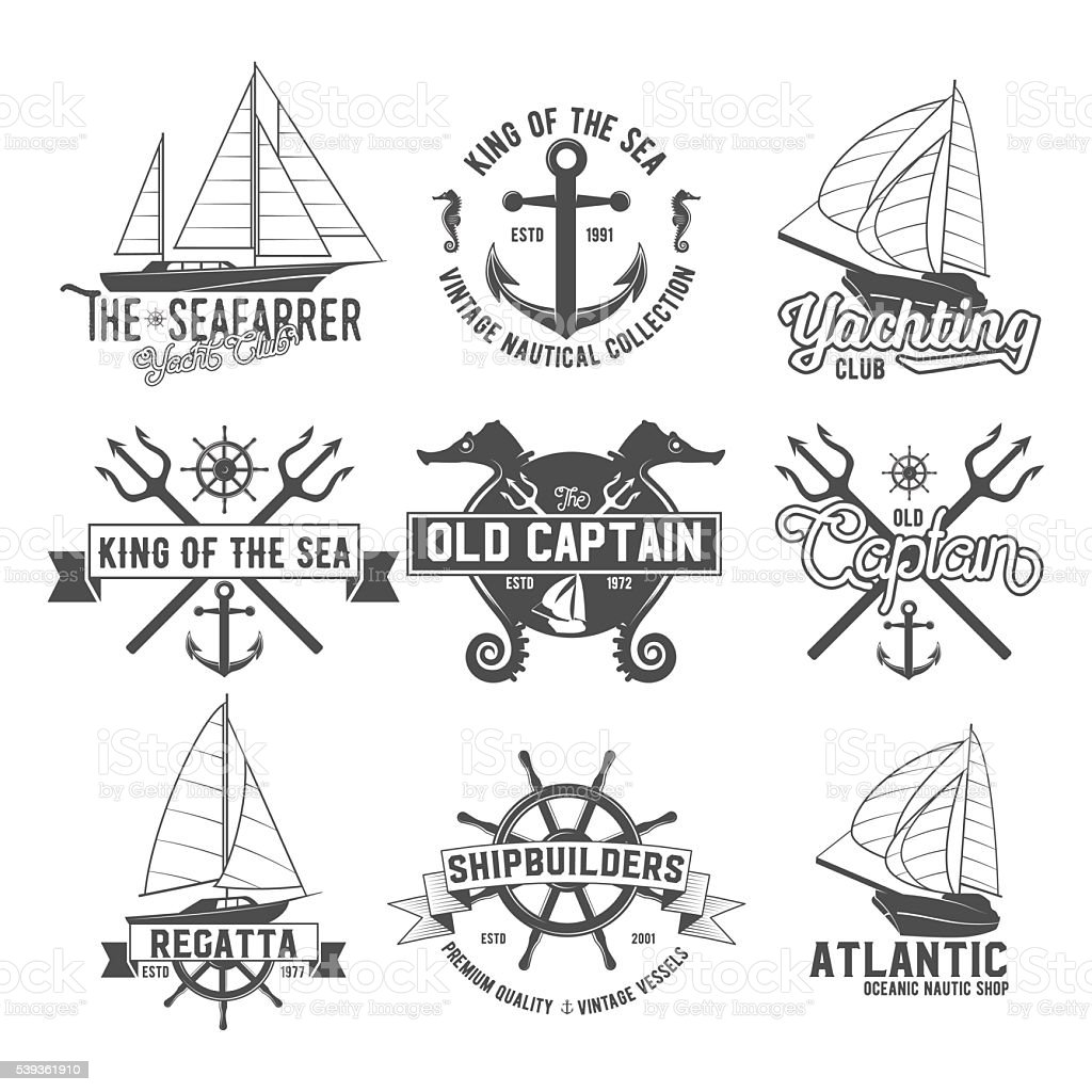 Yacht club badges logos and labels vector art illustration